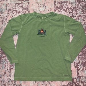 Life is good campfire long sleeve t shirt green